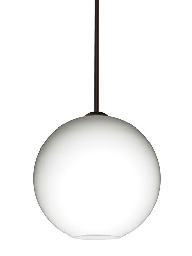 Br Pendant 1 Light Stem (Besa Lighting 1TT-COCO1207-BR Coco 12 - One Light Stem Pendant, Bronze Finish with Opal Matte Glass)