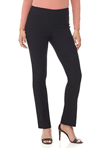 Rekucci Women's Ease in to Comfort Straight Leg Pant with Tummy Control (16SHORT,Black Texture)