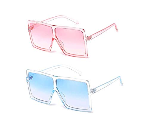 YESPER Oversized Sunglasses for Women Men Flat Top Square Frame Shades Sunglasses (2 Pcs-Pink- Blue)
