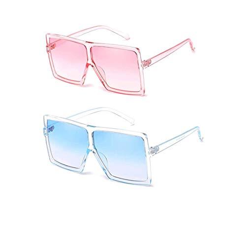 YESPER Oversized Sunglasses for Women Men Flat Top Square Frame Shades Sunglasses (2 Pcs-Pink- Blue) (Best Mens Glasses Frames 2019)
