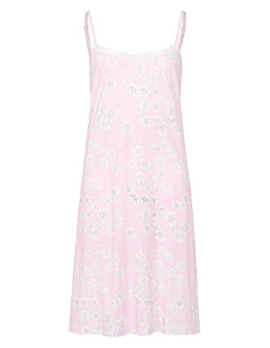 Slenderella ND7105 Women's Daisy Pink Floral Cotton Night Gown Loungewear Nightdress