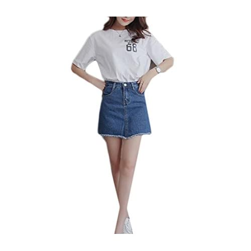 Buildup Women's Bodycon Underskirts High Waisted Fringed Sanding Culottes Denim Shorts Blue M for sale