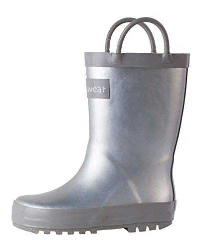 OAKI Kids Waterproof Rubber Rain Boots with Easy-On Handles (13 M US Toddler, Silver) ()