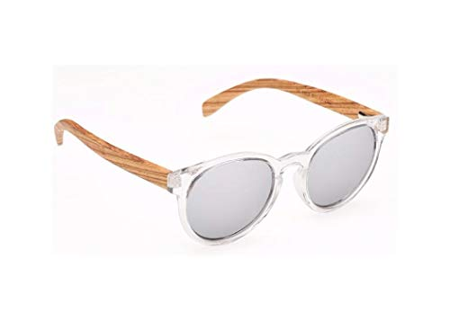 Biscayners Hampton Unisex, Bamboo Wood Sunglasses Polarized Mirrored Clear Handcrafted Lightweight