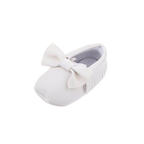 Bowknot De Zapatos Mocasín única Cuna De Cuero Suaves Para Niños Bebé -13cm - Blanco, 12cm Blanco