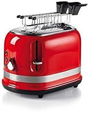 Ariete 149 rode broodrooster, 2 sneden, moderne broodrooster met tang, automatische uitworp, kruimellade, ontdooi- en verwarmingsfunctie, 6 bruiningsniveaus, 800 W, kunststof