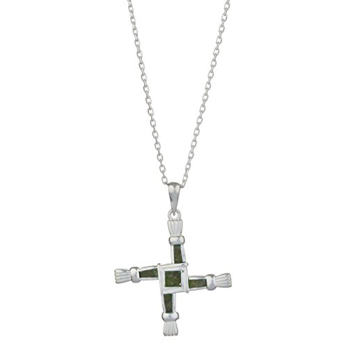 Sterling Silver St  Brigid S Cross W  Irish Connemara Green Marble Pendant With 18  Silver Chain