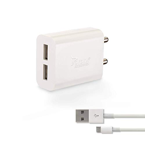 Syska WC 3AD 2 Port Charger  Cable Included   White