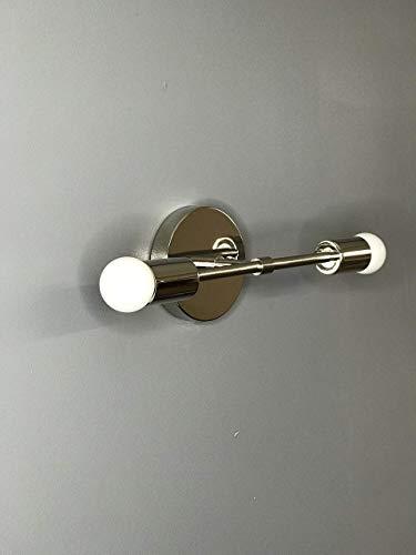 Brass Vanities 2 Polished - Polished Nickel Modern Wall Sconce Vanity 2 Bulb Modern Mid Century Bathroom Industrial Light