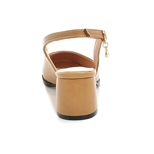 Primavera Con A In Quadrati Aikaka Larga Estate Ed Donna Scarpe Testa Sandali Apricot Da IUxwq0Ha
