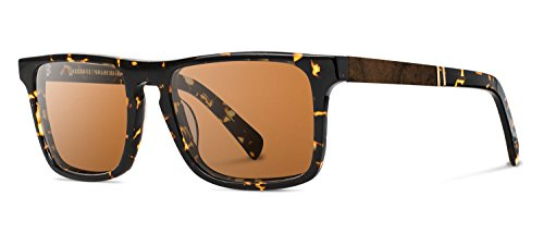 Shwood - Govy2 Acetate, Sustainability Meets Style, Dark Speckle/Elm Burl, Brown Polarized - For Face Shape Oval Best Sunglasses