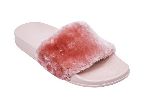 Slipper Sandals Flop Flip Light Women Slide Pink Flats nbsp;Slippers On Fur Plush Shoe Slip wazgPcqcR