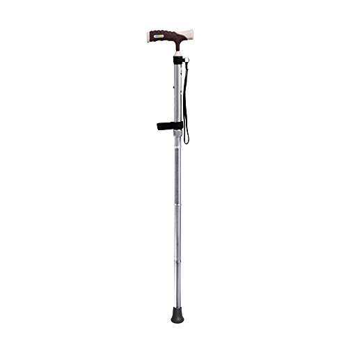 The Elderly Legs Are Not Convenient Crutch Collapsible Aluminum Alloy Anti-skid Pad (changeable) Four-foot Crutches Aided Get Up Help Walk And Help Up The Stairs Adjustable Height (Color : A) by WURE