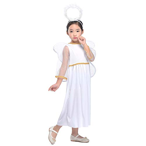 White Angel Costume Kids Girls Fancy Dress Halloween Feather Headband Halo and Wings (White, S)
