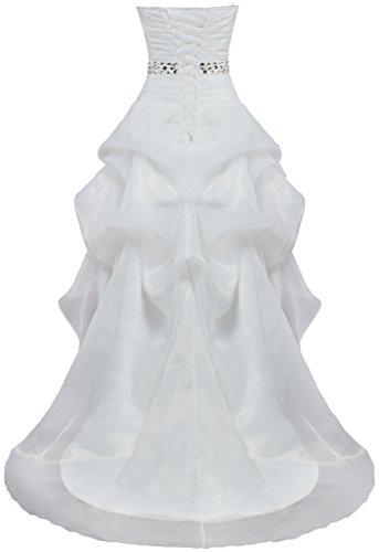 Organza Haut Bas Robes De Mariée Ivoire Robe De Mariée Décontractée Fourmis Femmes Un