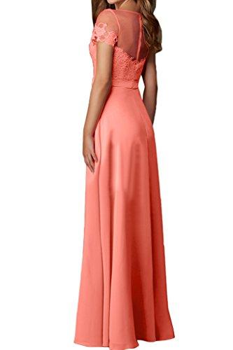 Ivydressing Damen Kurz Wassermelone Partykleid Lang Festkleid Rundkragen Promkleid Aermel Satin Abendkleid Elegant xrS7wqx