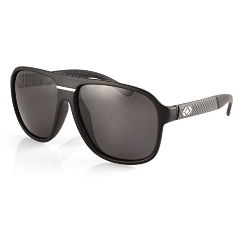 13Fifty Madison Polarized Plastic Aviator Sunglasses, Matte Black, Gray Polarized 100% UV - Style Wafer Sunglasses