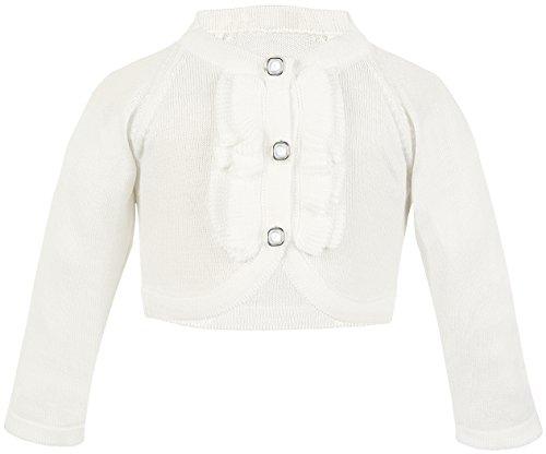 Lilax Baby Girls' Knit Long Sleeve Button Closure Ruffle Bolero Cardigan Shrug 12-18 Months Cream