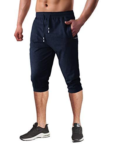Capri Shorts for Men Running Pants Men Dry Fit Pants Men Workout Pants Men with Pockets Jogger Pants for Men Slim Fit