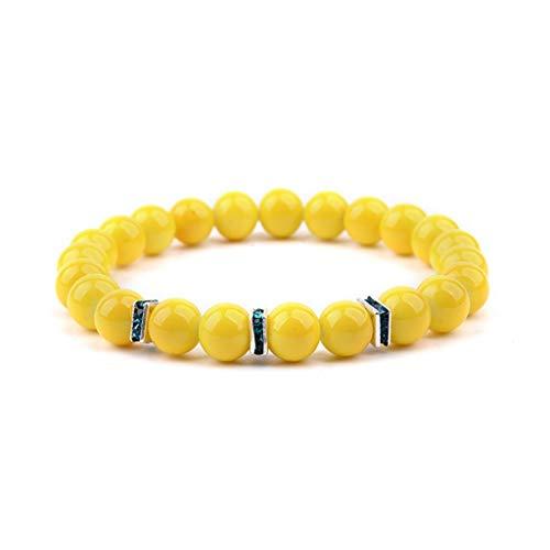 (SUPERON Cute Natural Bracelets for Women Zircon Rondelle Yellow Blue Green Beads Bracelet Femme Jewelry Lady(Adjustable,Yellow))