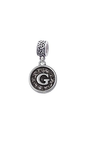 - Silvertone Antiqued Round Seal - Initial - G - Celtic Knot Charm Bead