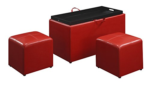 Convenience Concepts Designs4Comfort Sheridan Faux Leather Storage Bench with 2  sc 1 st  Furniture.com & Red Leather Ottomans - Storage Coffee Table etc