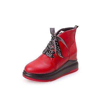 US7 Toe Mujer Lace Para UK5 De 5 Botas Cuña Moda Otoño RTRY Y Negro Botas Vestimenta Rojo Tacón Zapatos De EU38 CN38 Casual Invierno Redonda 5 Pu 6Cxw1qEZ