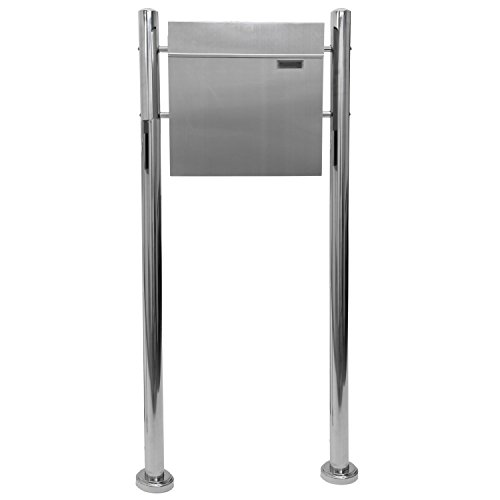 Hochwertiger V2A Edelstahl Standbriefkasten mit Zeitungsfach, 120 cm hoch, Gewicht 5,4 kg