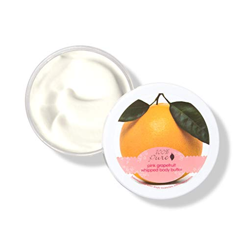 100% PURE Pink Grapefruit Whipped Body Butter, Body Lotion for Dry Skin, Made with Shea Butter, Cocoa Butter, Moisturizing Body Cream, Natural Lotion - 3.4 - Whipped Grapefruit Body