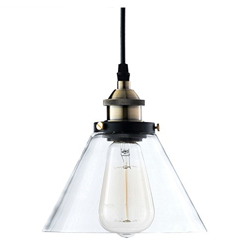 Light Society Cruz Mini Pendant Light, Clear Glass Shade with Antique Brass Finish, Vintage Modern Industrial Farmhouse Lighting Fixture (LS-C108)