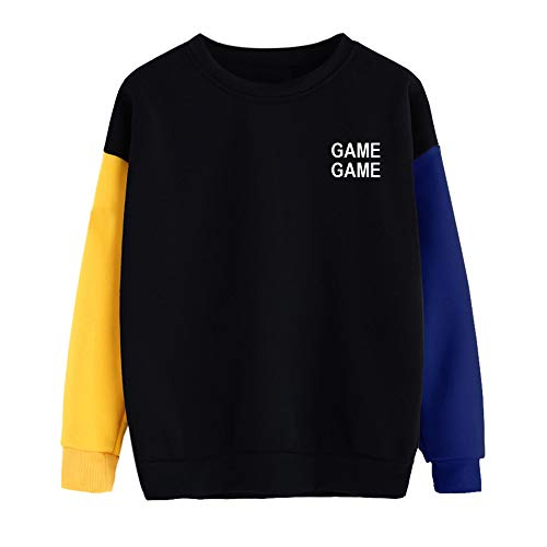 UONQD Women Color Block Letter Print O-Neck Sweatshirt Pullover Top Blouse(Medium,A-Blue)