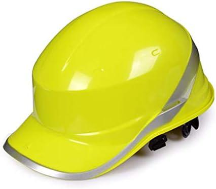 ヘッド保護 建設ヘルメットキャップスタイルのハード帽子、6点のラチェットサスペンション耐久性のある保護安全ヘルメット調整可能なヘルメット 作業安全装置 (色 : 黄)