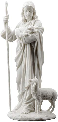 wu Jesus The Good Shepherd Statue Sculpture 11 ½-Inch (White) ()