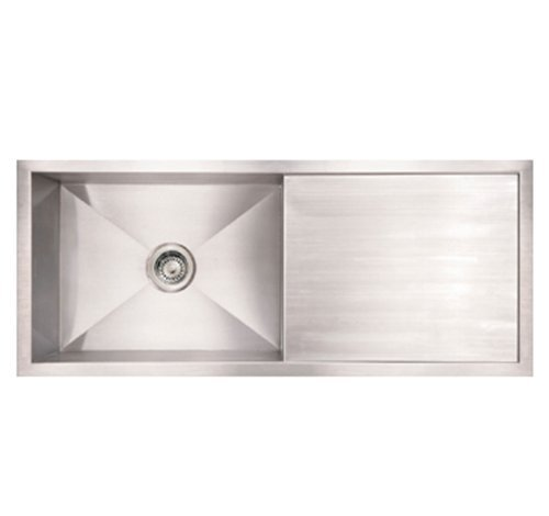 Whitehaus WHNCM4019-BSS Noah'S Collection 40-Inch Commercial Single Bowl Reversible Under Mount Sink with Integral Drain Board, Brushed Stainless Steel by Whitehaus ()