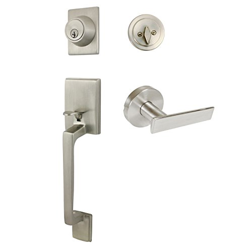 Designers Impressions Churchill Satin Nickel Handleset with Laurel Interior Lever (We Key All Lock Orders Alike for Free)
