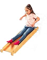 Goodevas Climbing Board Slide / Wooden Ramp - Only Kids Slide - Acessories for Montessori Climber Pickler - Natural Pikler Triangle Toys - Aged 1 to 7 Years