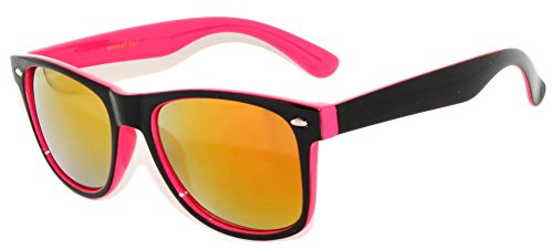 Black & Pink Retro Vintage Two -Tone Gold Mirror Lens Sunglasses Uv - Gold Mirror Lens Sunglasses
