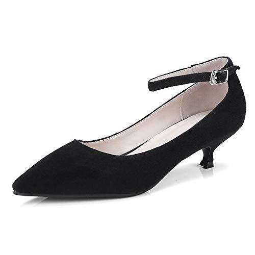 Suede Pump Black Basic Spring ZHZNVX Heel Low Black Heels Shoes Women's Green qXwRUSE