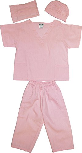 [Kids Doctor Dress up Surgeon Costume Set, 2T/3T, Pink] (Doctor Costumes For Toddlers)