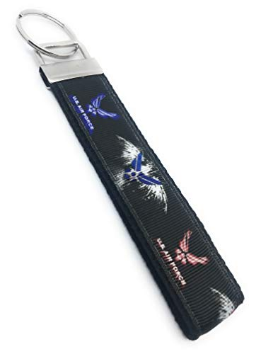 """U.S. Air Force - Black Background - Keychain Polyester Fabric Wristlets for Key Fob, Key, ID Badge Holder, USB, Purse (aprox 4""""x1"""" 5-6"""" total length with hardware)"""