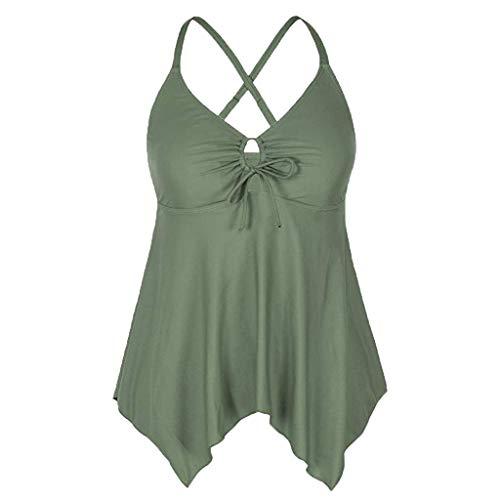 Women's Plunging V Neck Halter Swim Tops Shirred Tankini Top Army Green