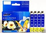 4PK Epson T0781 Black Replacement Ink Cartridge for Epson Stylus Photo R260 R280 R380 RX580 RX595 RX680 by PRITOP, Office Central