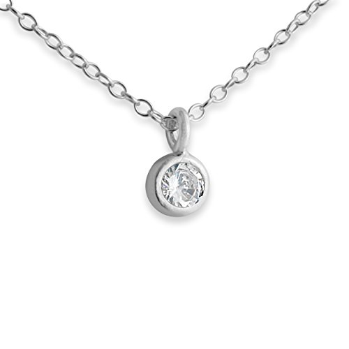 Sterling Silver 4mm Bezel Pendant Charm Necklace with Cubic Zirconia (14 Inches)