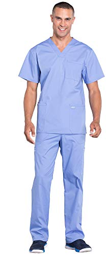 Cherokee Workwear Professionals Men's 4 Pocket V-Neck Scrub Top WW695 & Men's Drawstring Cargo Scrub Pants WW190 Medical Uniforms Scrub Set (Ciel Blue - Small/Small Tall)