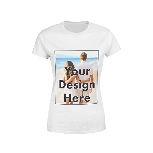Arokan Customize Shirts for Women Custom T Shirts Design Your Own Crew Neck Womens Personalized Tshirts, White