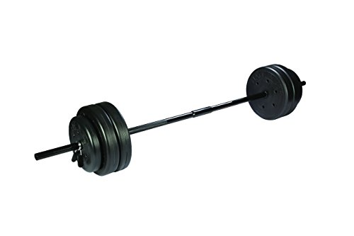 US Weight Duracast 55 lb. Barbell Weight Set with Two 5 lb. Weights, Four 10 lb. Weights, One 4 lb. Weight, Two Piece Threaded Barbell Bar, Two Locking Spring Clips