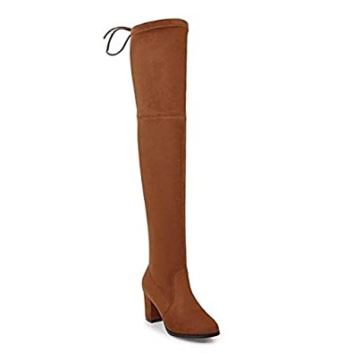 Pumper Joes Square High Heel Women Over The Knee Boots Blue 4
