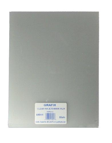 GRAFIX KSF50-CIJ 8-1/2-Inch by 11-Inch Shrink Film, Printable, Clear Inkjet, ()