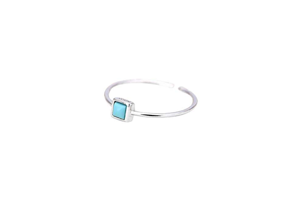 YIENMALI Simple Turquoise Ring 925 Sterling Silver Gemstone Open Rings Adjustable for Women Girls (Square)