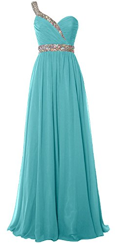 Turquoise Evening 2018 Dress MACloth Gown Long One Formal Chiffon Elegant Prom Shoulder RqgP1Z